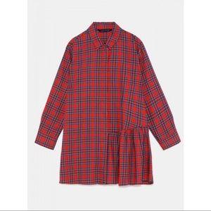 Zara plaid asymmetric tunic